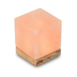 Tischleuchte aus Salzkristall LED Kubus