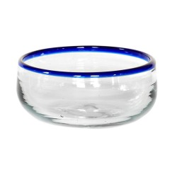Müslischale aus mundgeblasenem Glas blau