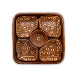 5er Dipschalen aus Ton aus Mexiko quadratisch