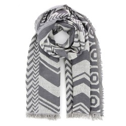 Schal aus Wolle/Baumwolle grau