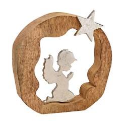 Engel mit Stern aus Holz und Metall zum Aufstellen