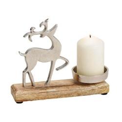 Teelichthalter aus Holz und Metall mit Elch Motiv