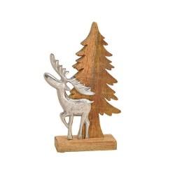 Tannenbaum mit Elch aus Holz und Metall Aufsteller