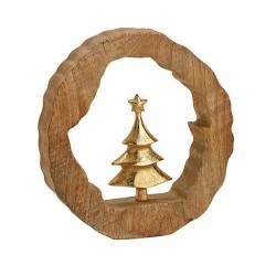 Tannenbaum aus goldenem Metall im Mangoholz Rahmen