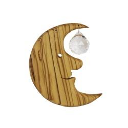 Fensterdeko Mond mit Kristallkugel M   Holz Fenster Deko