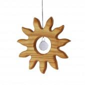Fensterdeko aus Holz , kleine Sonne mit Kristall