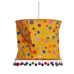 Lampenschirm für Kinder aus Papier gelb mit Punkte
