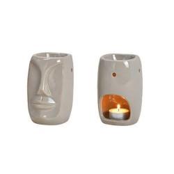 Duftlampe aus Keramik Gesicht grau