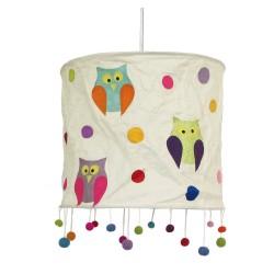 Lampenschirm für Kinder aus Papier mit Eulen beige