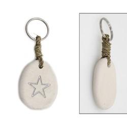 Schlüsselanhänger aus Stein mit Gravur Stern
