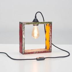 Quadratische Lampe aus Metallfässern aus Afrika