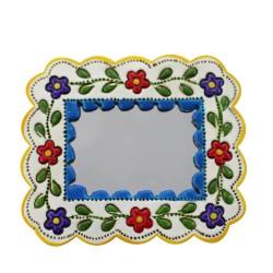 Deko-Hänger Spiegel Klein blau und weiß - Recheckig