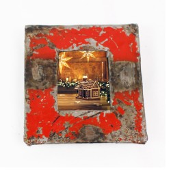 Bilderrahmen aus Metallfässern rot für Passbilder