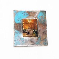 Bilderrahmen aus Metallfässern hellblau Passbilder