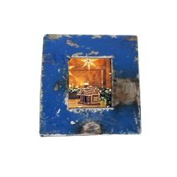 Bilderrahmen aus Metallfässern blau für Passbilder