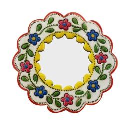 Deko-Hänger Spiegel Klein gelb und weiß - Kreis