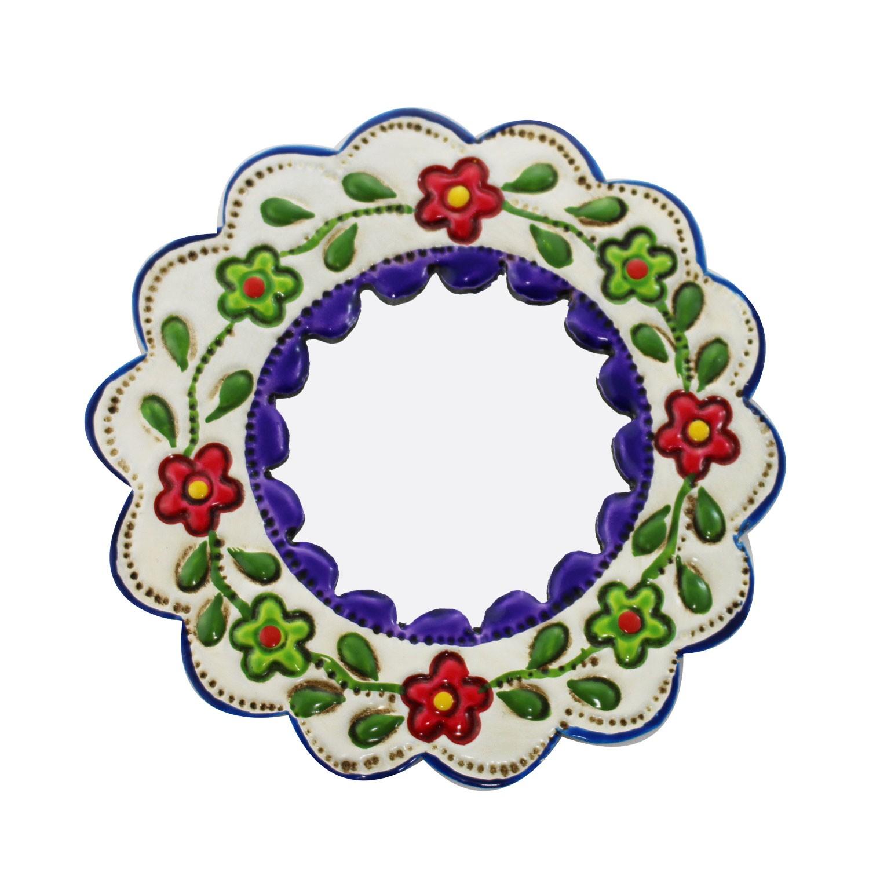 Deko-Wandspiegel klein lila und weiß - rund kaufen