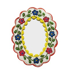 Deko Wandspiegel klein gelb und weiß - Oval