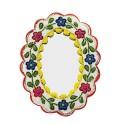 Deko-Wandspiegel klein gelb und weiß - oval