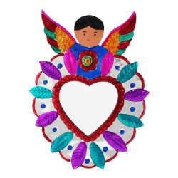 Deko Wandspiegel Herz mit Engel, Wandeko