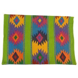 Handgewebte Sofakissen aus Mexiko grün/blau 30x50