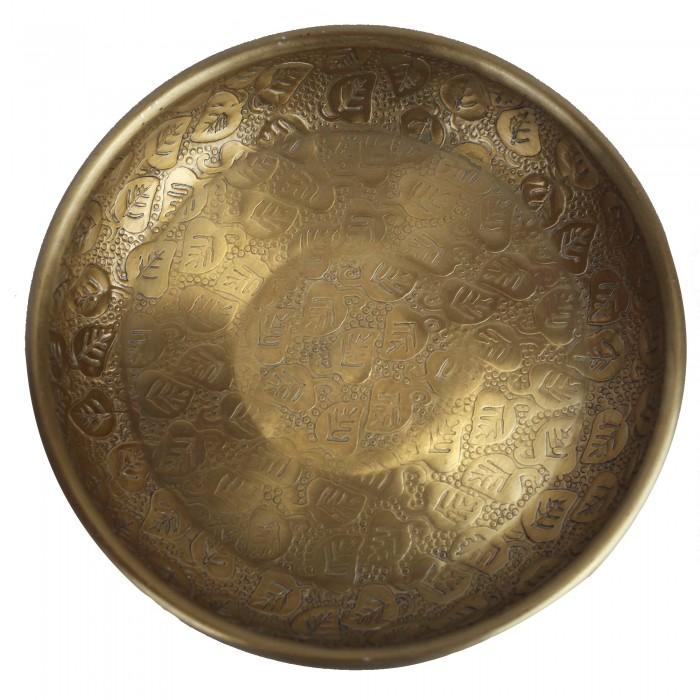 Dekoschale gold aus Indien handmade, Blattmuster