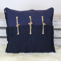 Kissen aus Baumwolle Hami dunkelblau 50x50