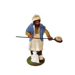 Krippenfiguren Bäcker 12 cm aus Ton/Stoff blau