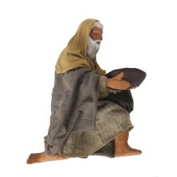 Krippenfiguren Bettler 12cm aus Ton/Stoff