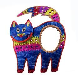 Deko-Wandspiegel Katze blau
