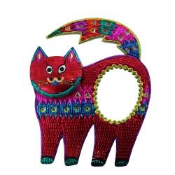 Deko-Wandspiegel Katze rot