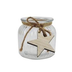Windlicht aus Glas zu Weihnachten, Teelichthalter