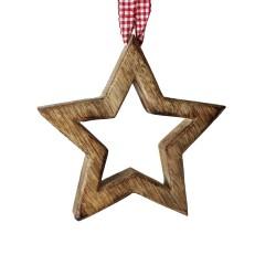 Sternhänger mit Karoband - Weihnachtsdeko