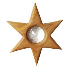 Fensterdeko Stern aus Holz mit Kristall Scheibe   Weihnachtsstern groß