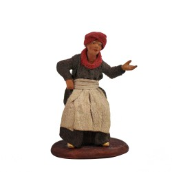 Krippenfigur Alte Frau 14/16 cm gebeugt