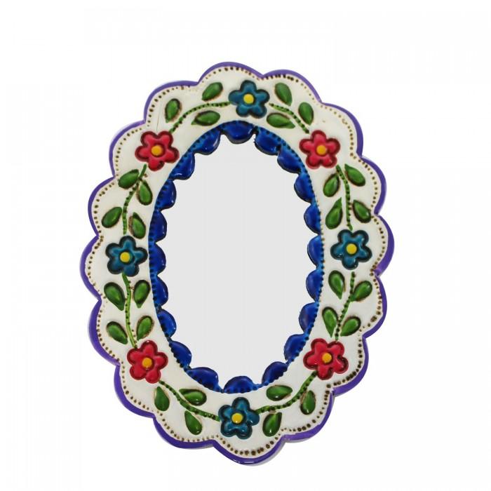 Deko-Wandspiegel klein blau und weiß - oval
