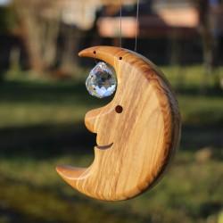 Fensterdeko Mond mit Kristallkugel S | Holz Fenster Deko