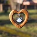 Fensterdeko Herz aus Holz , Herz mit Bleikristall