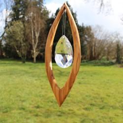 Fensterdeko aus Holz | Segel groß mit Bleikristall