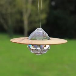 Fensterdeko Saturn groß | Holzdeko mit Bleikristall