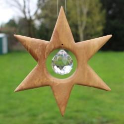 Fensterdeko Stern aus Holz mit Bleikristall | Sternendeko groß