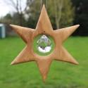 Fensterdeko Stern aus Holz mit Bleikristall, Weihnachtsstern groß