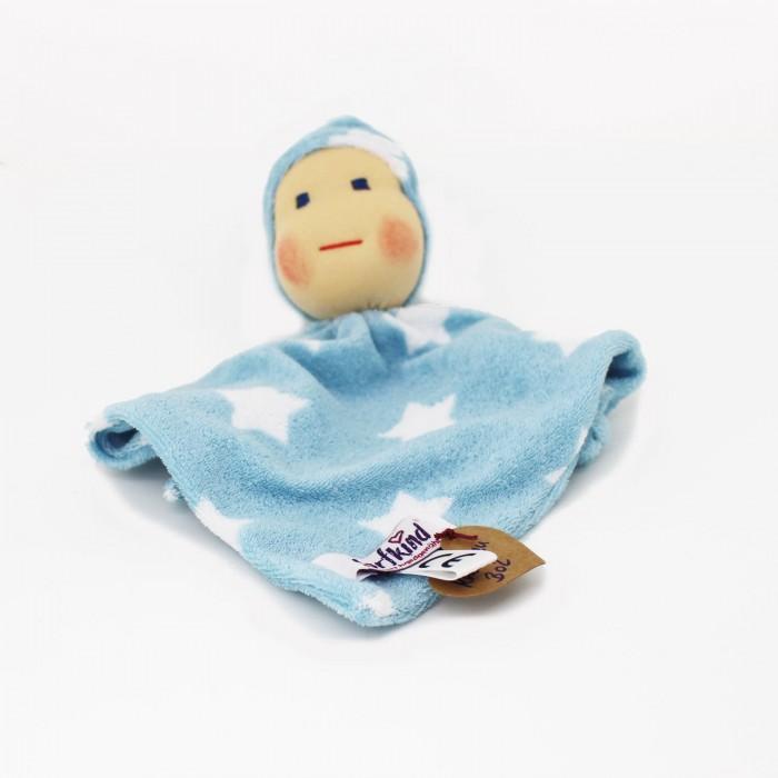 Baby Schmusetuch nach Waldorf Art, Knötchen hellblau