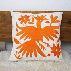 Handgewebte Sofakissen Vogel orange, Deko-Kissen