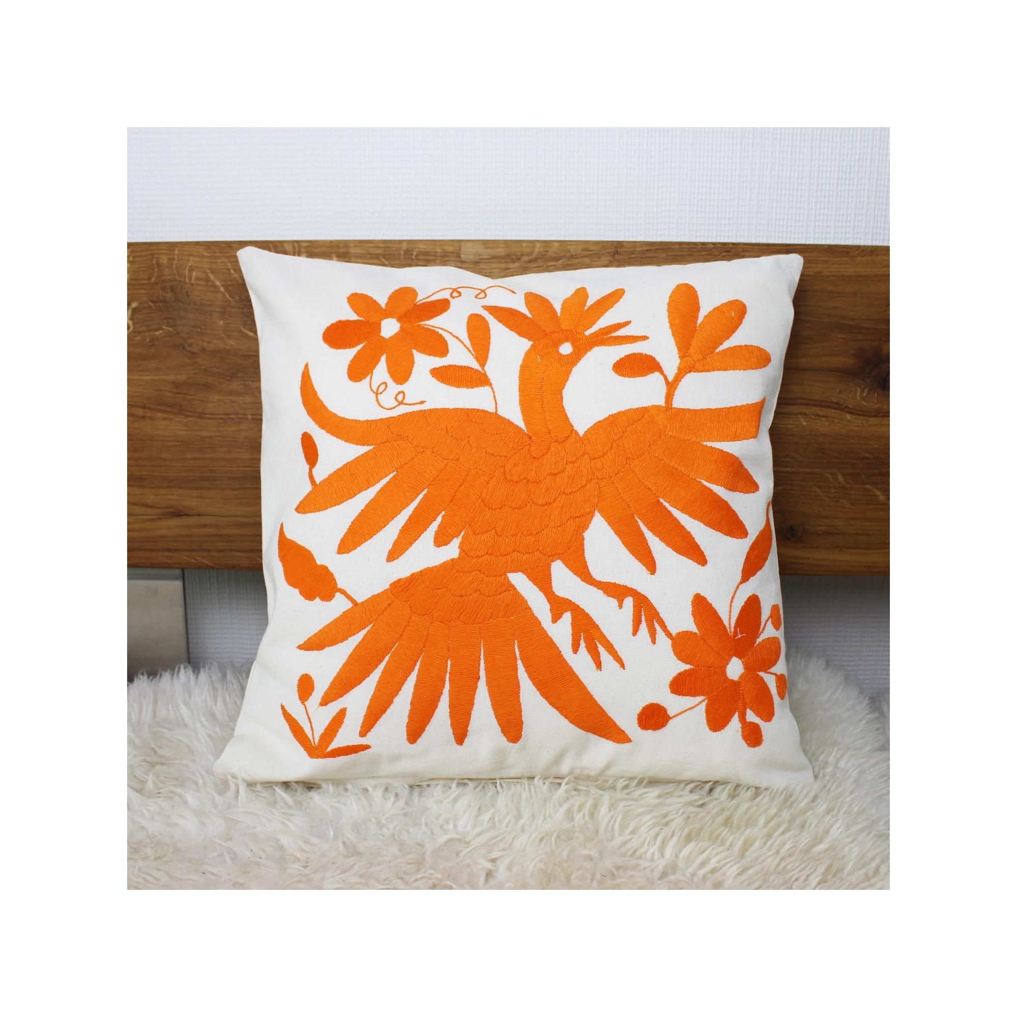 handgewebte sofakissen vogel orange deko kissen kaufen. Black Bedroom Furniture Sets. Home Design Ideas