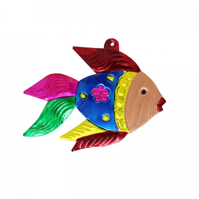 Wanddeko Fisch bunt 12cm, Dekoanhänger