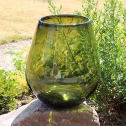 Dekovase, Mungeblasenes Glas, grün (H: 21 cm)