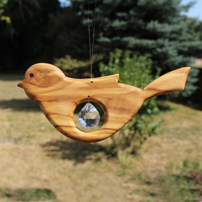 Fensterdeko Vogel aus Holz mit Bleikristall