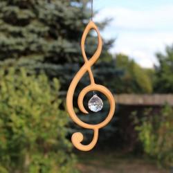 Fensterdeko aus Holz | Violinschlüssel mit Kristall