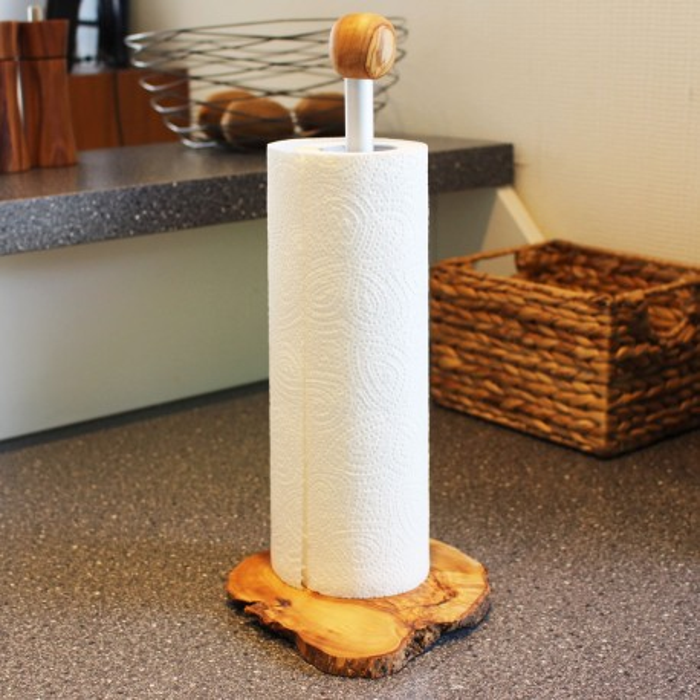 Küchenpapierhalter aus Olivenholz/Aluminium